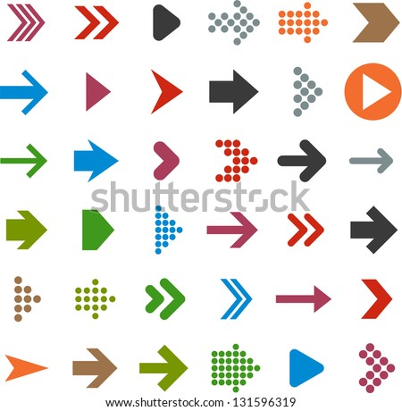 Vector illustration of plain arrow icons. Eps10.