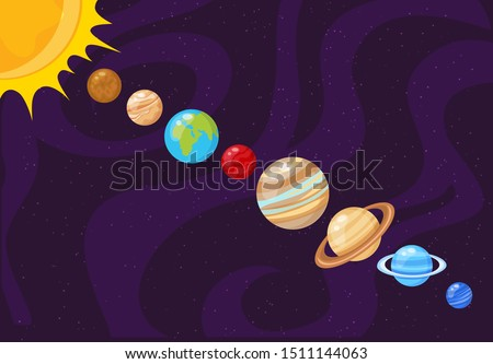 Vector illustration of planet order. Planets of Solar system.
