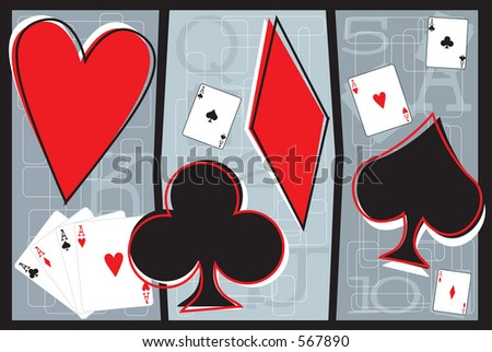 Vector illustration of playing cards and playing card symbols.