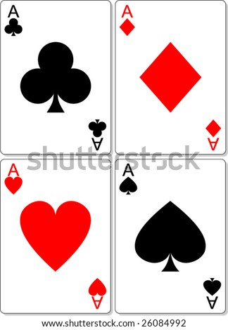 Vector Illustration of playing cards showing aces from four suits in traditional shapes and authentic colors