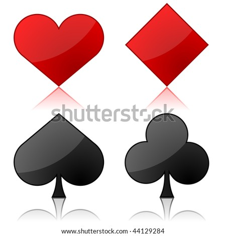Vector illustration of playing cards suits isolated on white background. - stock vector