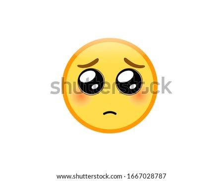 Vector illustration of Pleading Face emoji