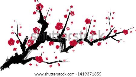 Vector illustration  of plum blossom tree.  Stock photo ©