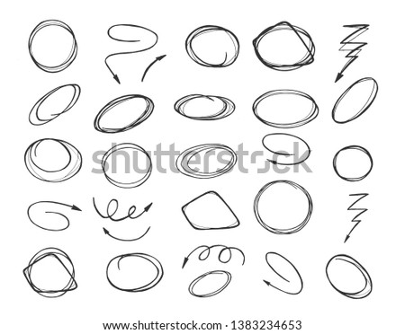 Vector illustration of pointers and shapes set marker style. Sketchy circles and rounds, zigzag, curve and helical arrows, different marks. Vintage hand drawn style.