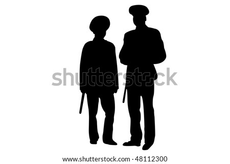 Vector illustration of policemen contours under the white background