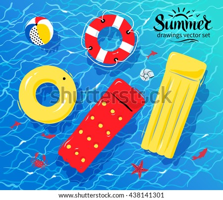 Pool Water With Beach Ball vector illustration of pool rafts, rubber ring, beach ball and