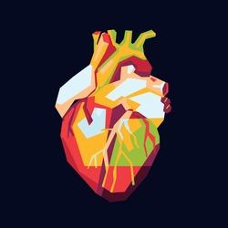 vector illustration of pop art colorful heart
