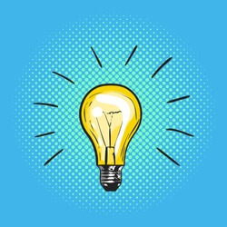 Vector illustration of pop art light bulb. Concept of new idea. Hand drawn sign. Illustration for print, web.