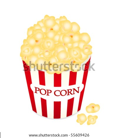 Vector illustration of popcorn in a red box and some all around the container isolated on white background