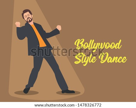 Vector illustration of popular Indian dance move. Bollywood style dance banner.