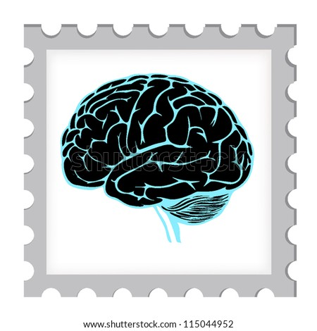 vector illustration of postage stamp template with brain