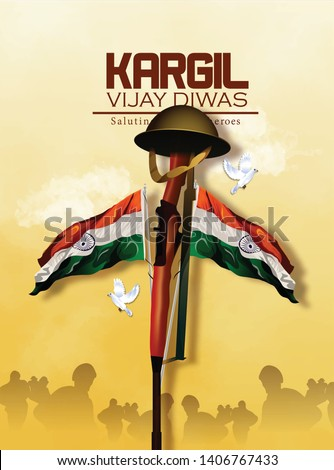 Vector illustration of Poster for salute indian army, amar jyoti, amar jawan - Vecto