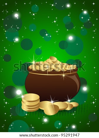Vector illustration of pot with full of gold coins on shiny background for St. Patrick's Day.