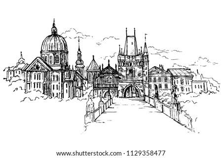 vector illustration of prague
