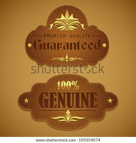 vector illustration of premium quality badge in leather texture