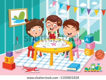 Vector Illustration Of Preschool Children