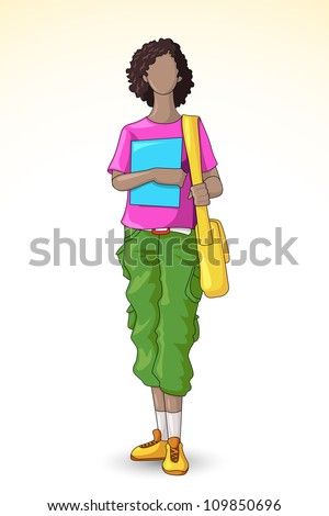 vector illustration of pretty female student with bag - stock vector