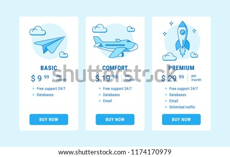 Vector illustration of pricing subscription plan table template with blue vector illustrations in line style. UI UX interface design elements. Price list 3 options plans for online services.