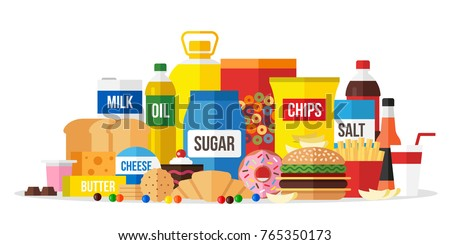 Vector illustration of processed food. Flat style.