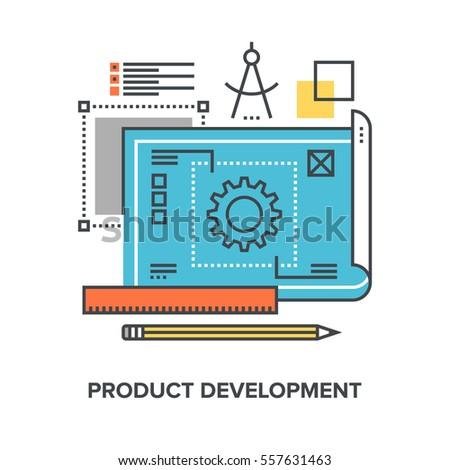 Vector illustration of product development flat line design concept