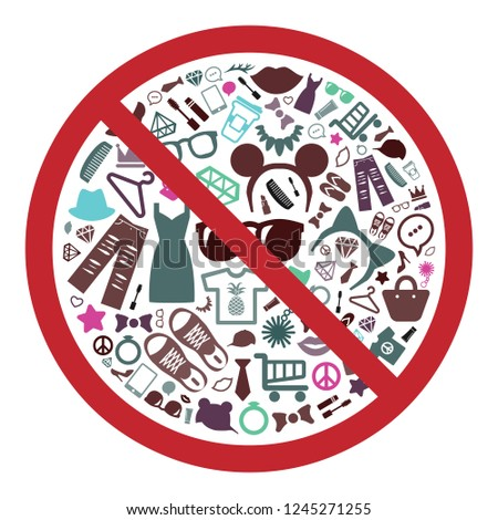 vector illustration of products and goods in restriction circle against consumerism and sustainable buying concept