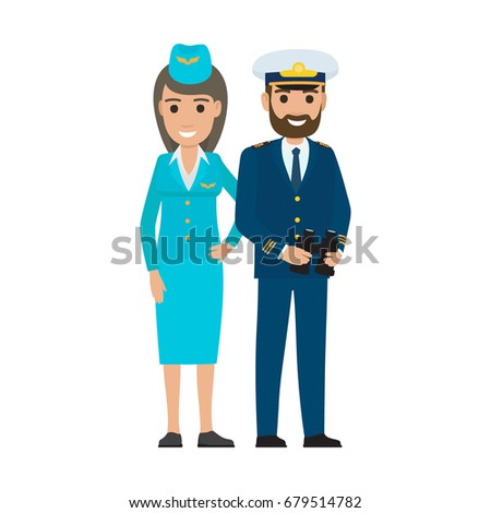 65c010f253ccd Vector illustration of professions stewardess and sea captain isolated on  white. Air hostess in uniform