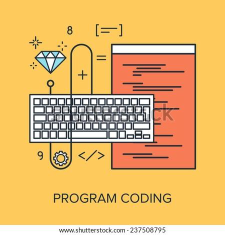 Vector illustration of program coding flat line design concept.