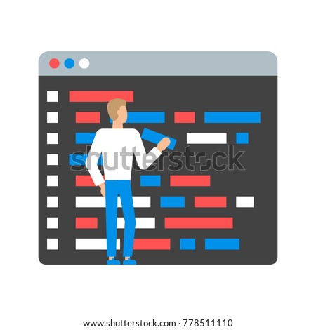 Vector illustration of programmer writing a code