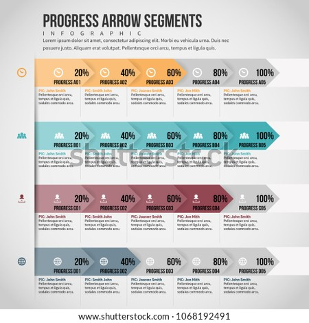 Vector illustration of Progress Arrow Segments infographic design element.