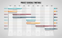 Vector illustration of Project Schedule Timetable Infographic design element.