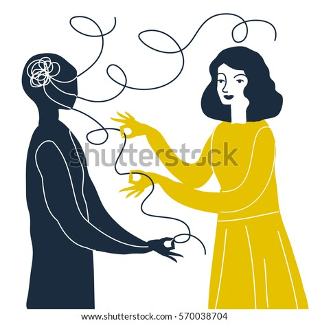 Vector illustration of psychotherapy concept. Man in depression. Tangled ball in head. Psychology illustration.