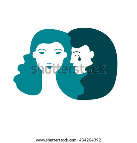 Vector illustration of psychotherapy concept. Man in depression. Woman in depression. Psychology illustration.