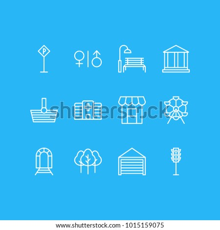 Vector illustration of 12 public icons line style. Editable set of tree, wc, traffic light and other icon elements.