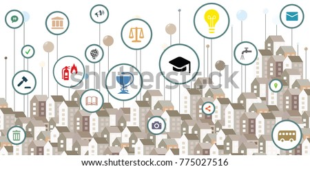 vector illustration of public service icons and urban buildings and colorful pins for smart city information visualization concepts
