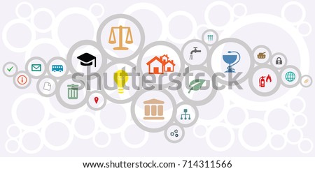 vector illustration of public service icons for managing and city administration concepts in circles network shape design