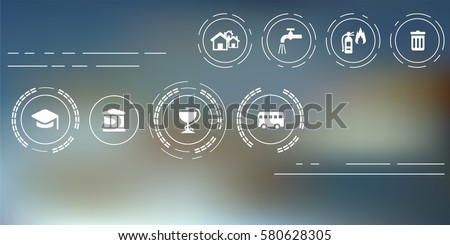 vector illustration of public service icons for managing and city administration concepts on abstract blurry background