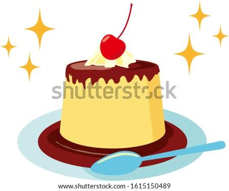 Vector illustration of pudding on plate. Sweet dessert Imagine de stoc ©
