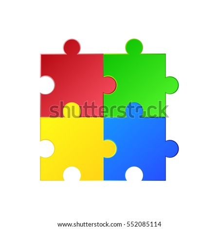 Vector illustration of puzzle. Green, red, blue, yellow