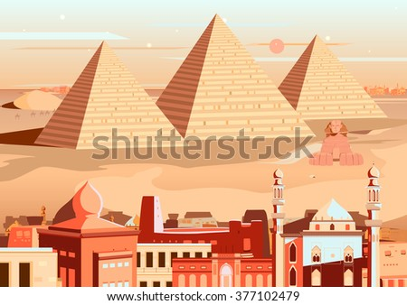 Stock Photo vector illustration of pyramid and Sphinx of Giza, Egypt