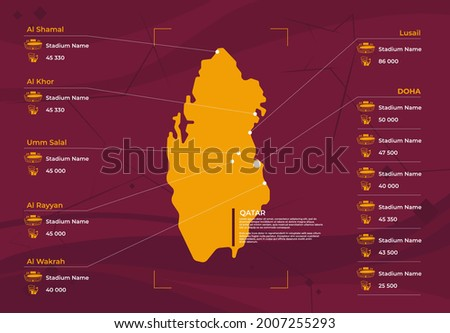 Vector illustration of Qatar silhouette map, map of football stadium cities with stadium capacity, infographic of the location of stadiums in Qatar