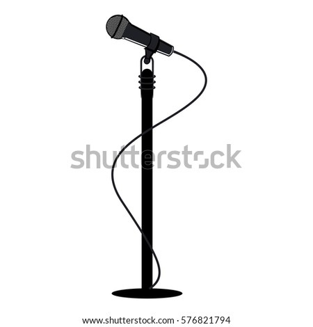 Vector illustration of racks for microphones and microphone