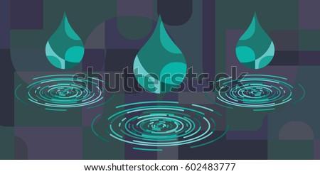vector illustration of rain