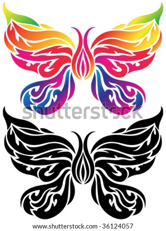 stock vector : Vector illustration of rainbow color butterfly tattoo.