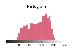 Vector illustration of random editable photo histogram created from thin lines. Histogram graph or chart icon. Histogram symbol is isolated on a white background. Exposure, underexposure, overexposure