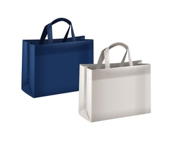 Vector illustration of realistic blue and white reusable shopping bags collection with handles isolated on white background