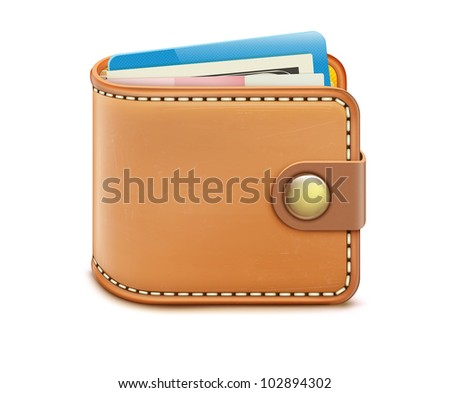 Vector illustration of realistic closed wallet with banknotes and credit card on a white background