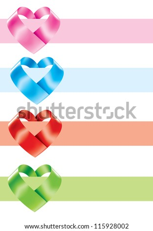 Vector illustration of realistic color ribbon hearts