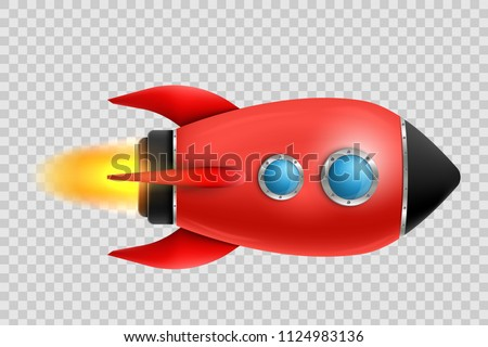 Vector illustration of realistic 3D rocket space ship launch isolated on transparent background. Space exploration. Art design startup creative idea. Abstract concept graphic element