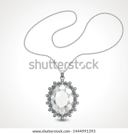 Vector illustration of realistic diamond necklace. Foto d'archivio ©
