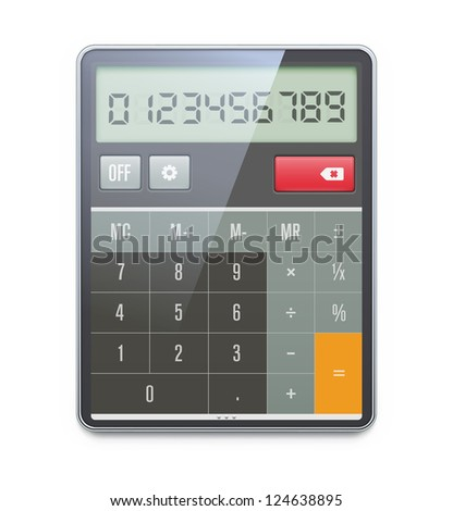 Vector illustration of realistic electronic calculator isolated on white background.